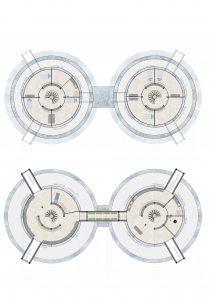 Plattegronden van de Ice Hab. Er zijn twee modules ontworpen voor redundantie maar ook om de werk- en woonfuncties te scheiden. De modules hebben ook beide twee verdiepingen om de slaap- en woonfunctie te scheiden en effectief bescherming te bieden tegen straling.