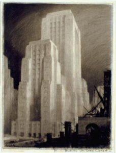Hugh Ferriss imaginary skyscraper. Columbia Digital Library Collections