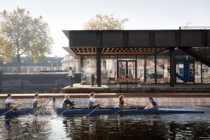 Het vrij toegankelijke dakterras en de drijvende loopsteiger vergroten de bruikbare, openbare ruimte