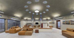 Vergaderruimte BPD met een combinatie van originele en nieuwe interieurelementen • Foto Roos Aldershoff.
