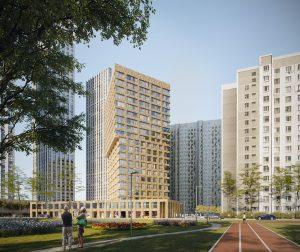 Bon Block in Moskou met in de sokkel een dansschool en erboven appartementen. Ontwerp i.s.m. A-Projekt, i.o.v. Krost. Uitvoering 2018-19.