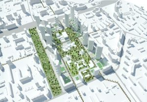 Stedenbouwkundig plan voor District 82 in Khoroshevo-Mnevniki in Moskou. Rond het bospark dat in 50 jaar tussen de Chroesjtsjov-flats is gegroeid, zijn 20 woontorens gepland. Ontwerp i.s.m. A-Projekt, i.o.v. Krost.