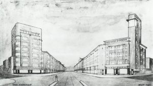 Gemeentelijk schetsplan voor de Vondelstraat uit 1928, gezien in de richting van de Bilderdijkstraat. Het woongebouw links werd niet zo hoog uitgevoerd en de toren rechts werd tijdens de Tweede Wereldoorlog afgebroken. ©Gemeentearchief Den Haag