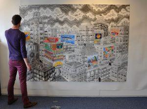 Memoria City (kleur) potlood op papier, 170 x 240 cm (2015)