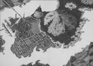 Montis City, potlood op papier, 50 x 70 cm (2013)