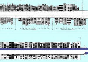 Tekening Marcel Bajard: gevels uit de 17e eeuw Prinsengracht en 20e eeuw Scheepstimmerermanstraat