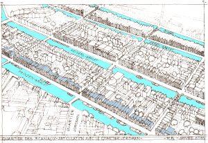 Tekening Marcel Bajard: huizen die langs de grachten uit de 17e euw zijn gebouwd