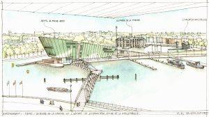 Tekening Marcel Bajard: nieuwbouw in het Oosterdok