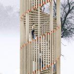 Next ontwerpt uitkijktoren van slanke houten balkjes