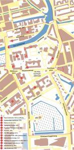 Situatietekeningen TU-Noord Delft, met in artikel genoemde gebouwen.