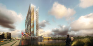 EPO Rijswijk_impressie nieuwbouw met waterbekkens rondom, ook op de plek van de oude te slopen kantoortoren.