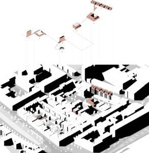 Inpassing van het stadsklooster met bestaande open plekken binnen de stad