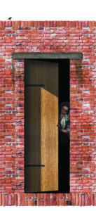 Detail van de entree naar een dakkamer. Met het sluiten van de zware eiken houten deur sluit je letterlijk de hectiek buiten