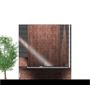 De Tussenkamer. Doorsnede van de doorgang van de drukke straat naar de rust van het bestaande groene binnenhof