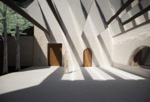 Maquettefoto van de Werkplaats met het spiegelende zaagtanddak