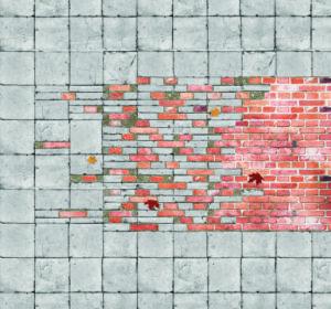Detail van de overgang van de bakstenen ter plaatse van de entree van een contemplatief gebouw naar de bestrating van de bestaande stad. De bakstenen vloerafwerking gaat over in strooistenen die verwerkt zijn in de bestaande bestrating en legt zo de verbinding naar het volgende gebouw binnen het netwerk