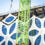 40 meter hoge glaskroongevel geplaatst op museumgebouw Naturalis