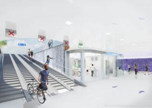 Ondergrondse fietsenstalling en herinrichting Stationsplein Zwolle naar ontwerp van Kraaijvanger Architects en Maxwan