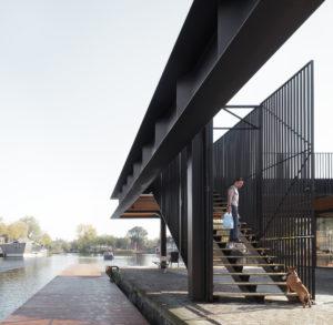 Het paviljoen Piushaven biedt bezoekers een mooi uitzicht, houdt de pier toegankelijk en biedt ruimte voor evenementen • Foto Stijn Bollaert.