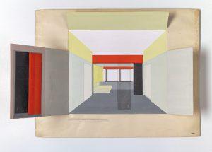 Peter Keler, Wohnung in Weimar. Entwurf und Ausführing , 1927, gouache op papier, 50 x 78 cm. Particuliere collectie in Nederland, met dank aan DerdaBerlin