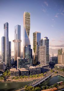 Het ontwerpvoorstel dat UNStudio (samen met Cox Architecture) in 2018 maakte voor Southbank by Beulah, Melbourne, Australië