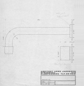 De ontwerpschets van mengkraan 111 die Arne Jacobsen in 1968 voor VOLA ontwierp.