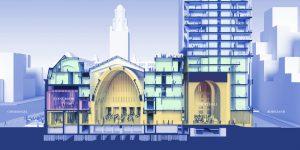 ODA Post Rotterdam. V.l.n.r. Coolsingel, oude grote hal postkantoor, nieuwe grote hal onder toren, Rodezand.