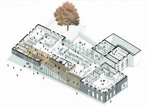 1e verdieping. 5 collectiegebieden 7 studie werkplekken / stilteruimte 9 terras 11 cursusruimte 12 studiecabines 13 vergaderruimte 14 kantoor 15 vide.