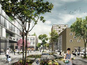De pleinen zijn gevarieerde en groene ontmoetingsruimten en verbinden de Kanaalzone en de Boulevardzone