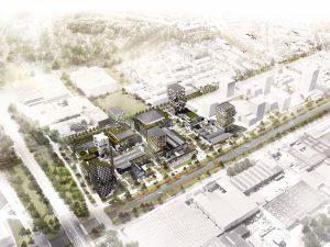 Het voormalig gebouw voor Melkontvangst zal straks in het groen staan