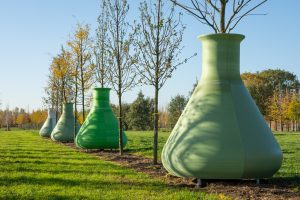 Bomen aan de Food Innovation Strip staan in reusachtige Erlenmeyer kolven