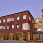 Exterieur Delftse School architectuur in Hotel 't Voorhuys