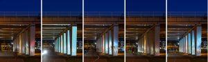 De folie reflecteert het licht van voorbijgangers  maar ook licht achter de kijker (bijv stoplichten). Deze serie is binnen 1 minuut genomen door Jordi Huisman.