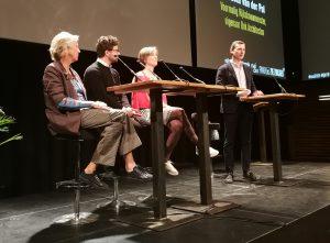 Evelyne Merkx, Gert Kwekkeboom, Liesbeth van der Pol en moderator