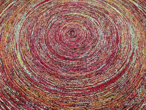 Simone Post: Vlisco Recycled Carpet. Geproduceerd door Label|BREED. Foto Jacqueline Knudsen