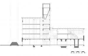 Aan weerszijden van het hoge middendeel is een lichtstraat, op de 3e verdieping boven de centrale vide, en aan de noordzijde op de 5e verdieping.