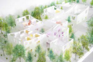 Nieuwbouw IKEC Hoorn. Studio MAKS ontwerpt een helder systeem van middelgrote volumes met overal toegang tot groene buitenruimtes