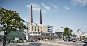 Innovation Powerhouse is de entree tot Strijp-T, rechts het Klokgebouw. Foto Tycho Merijn i.o.v. Atelier Van Berlo