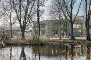 De locatie van de Molenwiek ligt pal aan het molenpark met waterpartij