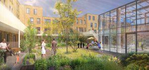 Inbo architecten maakte het ontwerp voor Meergeneratiehof Kas & Co in de nieuwe wijk Veemarkt aan de oostkant van Utrecht. De 32 woningen met gemeenschappelijke tuin, terras en kas worden in 2019 opgeleverd
