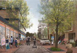 Mobiliteitshubs voor Strandeiland in IJburg, ontwikkeld samen met Arcadis en Deloitte. Deze kleinschalige hubs stimuleren een prettige leefomgeving en ontmoetingen tussen de bewoners. De hubs passen bovendien binnen de hoge duurzaamheidsambitie van de gemeente Amsterdam voor het eiland