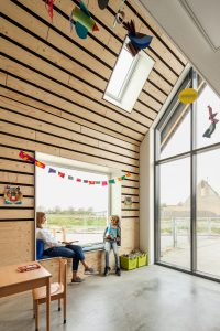 MFA Biggekerke: de vide naast de lokalen op de verdieping kan in de toekomst dichtgezet worden ten behoeve van de transformatie tot woningen • Foto Katja Effting