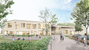 Een groot deel van de ruimte om de school in Rockanje is voorzien van een groene ondergrond met heesterbeplanting en bomen