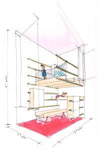 Voor de klimkamer en de Sleeping Pod maakte architect Ferry in 't Veld zeker 25 schetsen met steeds gekkere vormen. Het uiteindelijke ontwerp is een combinatie van alle schetsen