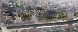 De Tinelsite met het Predikherenklooster, de stadsmuur, het Tinelpark en het Holocaustmuseum (rechts) is een nieuwe, hoogwaardige publieke voorziening aan de rand van het centrum van Mechelen