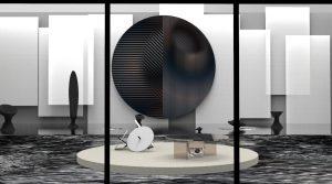 Expositie 'Stilled Life' van Studio Rive Roshan op de Dutch Design Week 2019 in Eindhoven, met gekleurde spiegels, een enorm geprint watertapijt en een catwalk van echt water met bijzondere zandsculpturen als modellen