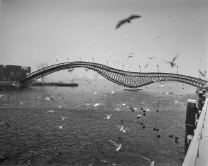 De brug over het Spoorwegbassin van landschapsarchitect Adriaan Geuze