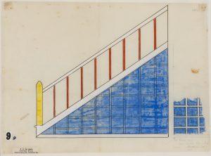 Theo van Doesburg, Kleurontwerp trap, sept. 1921, waterverf met inkt en potlood op papier