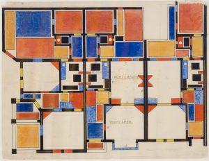 Theo van Doesburg, kleurontwerp voor de begane grond (Kleurcompositie II), 1921, fascimile