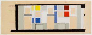 Theo van Doesburg. Café Aubette. Kleurontwerp voor een muur in de Grand Salon, 1927. Collectie Het Nieuwe Instituut, gift Van Moorsel, DOES ab5205. Tekening te zien in de tentoonstelling Into the Night, Belvedere, Wenen.